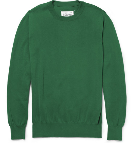 Maison Martin Margiela Elbow Patch Knitted-Cotton Sweater