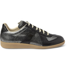 Maison Martin Margiela Panelled Metallic-Leather Sneakers