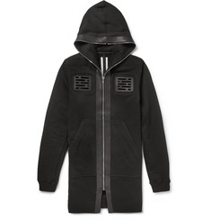 Rick Owens Leather-Trimmed Cotton-Jersey Hoodie