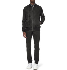 Rick Owens Long-Length Burnished-Suede Bomber Jacket