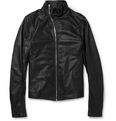 Rick Owens Slim-Fit Leather Bomber Jacket