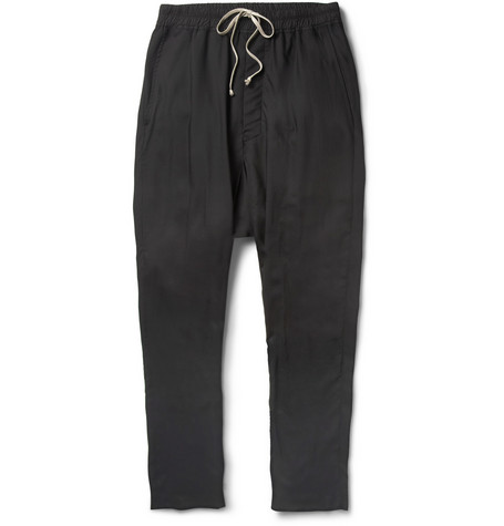Rick Owens Tapered Drop-Crotch Lightweight Wool Trousers
