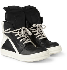 Rick Owens Panelled Leather High Top Sneakers