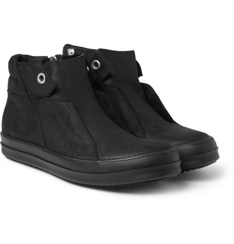 Rick Owens Oiled-Suede High Top Sneakers