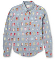 Band of Outsiders Slim-Fit Button-Down Collar Check Patchwork Chambray Shirt