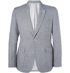 Band of Outsiders Slim-Fit Houndstooth Check Linen Suit Jacket