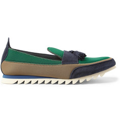 Kolor Suede and Neoprene Tasselled Loafers