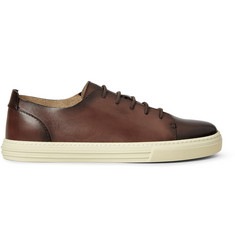 Gucci Burnished Leather Low-Top Sneakers