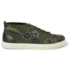 Gucci Leather-Trimmed Flower-Print Canvas Sneakers