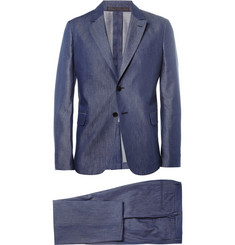 Valentino Blue Slim-Fit Cotton-Chambray Suit
