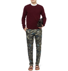 Valentino Slim-Fit Cotton and Silk-Blend Trousers