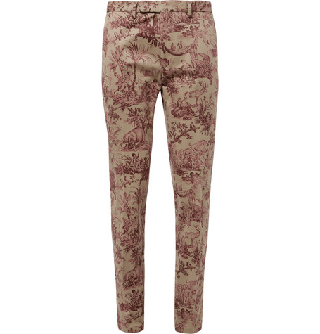 Valentino Slim-Fit Printed Cotton Trousers