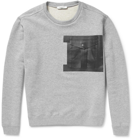 Valentino Cotton-Jersey and Bonded-Leather Sweatshirt