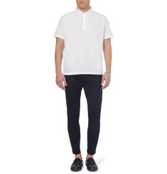 Valentino Cotton-Poplin and Jersey Polo Shirt