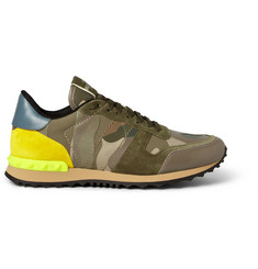 Valentino Camouflage-Print Leather and Suede Sneakers