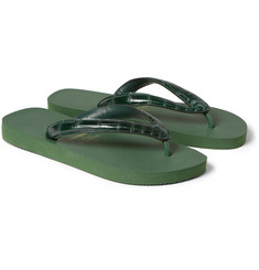 Valentino Havaianas Alligator and Rubber Flip Flops