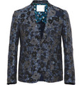 Sacai Cotton and Linen-Blend Jacquard Blazer