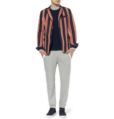 Sacai Woven and Knitted Cotton and Linen-Blend Blazer