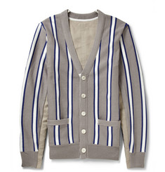 Sacai Grosgrain Stripe-Trimmed Cotton-Blend Cardigan