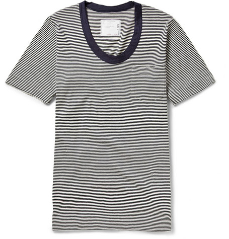 Sacai Striped Brushed Cotton-Jersey T-Shirt