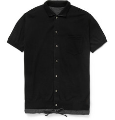 Sacai Matte Satin-Trimmed Knitted-Cotton Polo Shirt