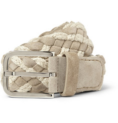 Loro Piana Taupe 4cm Woven Suede and Cotton Belt