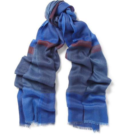 Loro Piana Check Cashmere and Silk-Blend Scarf