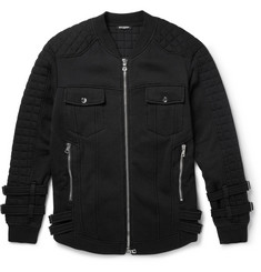 Balmain Quilted Fleece-Back Cotton-Jersey Jacket