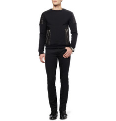 Balmain Leather-Panelled Cotton-Jersey Sweatshirt