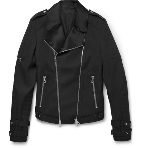 Balmain Satin-Trimmed Wool Biker Jacket
