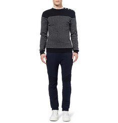 Balmain Metallic-Striped Cotton Sweater