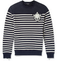 Balmain Lion-Emblem Striped Cotton-Jersey Sweatshirt