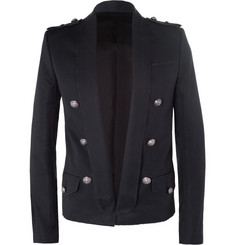 Balmain Raw-Seamed Cotton-Twill Tuxedo Blazer