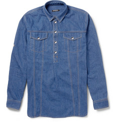 Balmain Half-Placket Denim Shirt