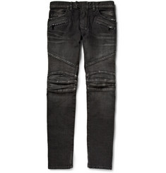 Balmain Slim-Fit Distressed Denim Biker Jeans
