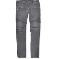 Balmain Slim-Fit Washed-Denim Biker Jeans