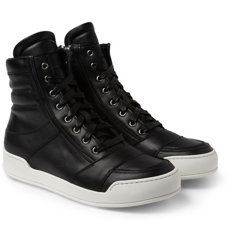 Balmain Leather High Top Sneakers