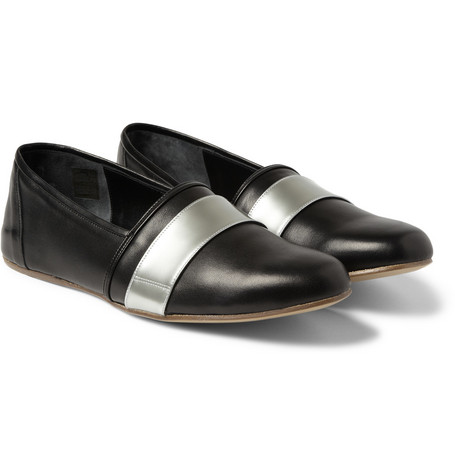 Balmain Metallic-Trimmed Leather Loafers