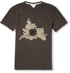 Rag & bone Flower-Print Marled-Cotton T-Shirt