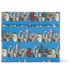Dolce & Gabbana Cactus-Print Cross-Grain Leather Cardholder