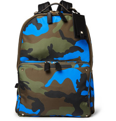 Valentino Camouflage-Print Leather and Canvas Backpack