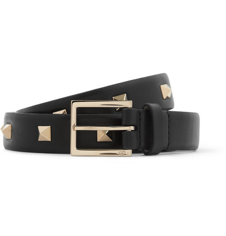 Valentino Black 2cm Studded Leather Belt