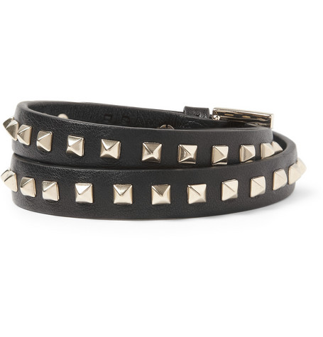Valentino Studded Leather Wrap Bracelet