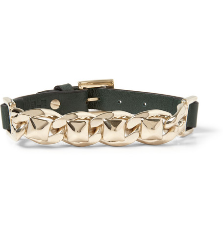 Valentino Stud-Link Metal and Leather Bracelet
