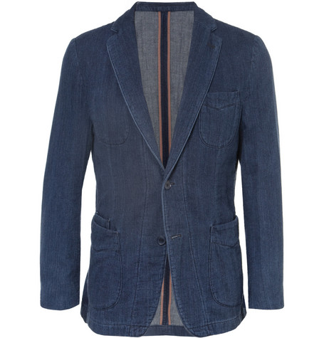 Officine Generale Slim-Fit Unstructured Herringbone Cotton Blazer