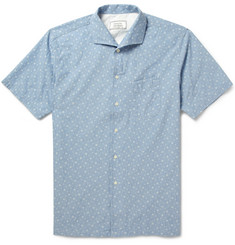 Officine Generale Plaid Short-Sleeved Cotton-Chambray Shirt