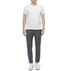 Officine Generale Dot-Embroidered Cotton-Pique Polo Shirt