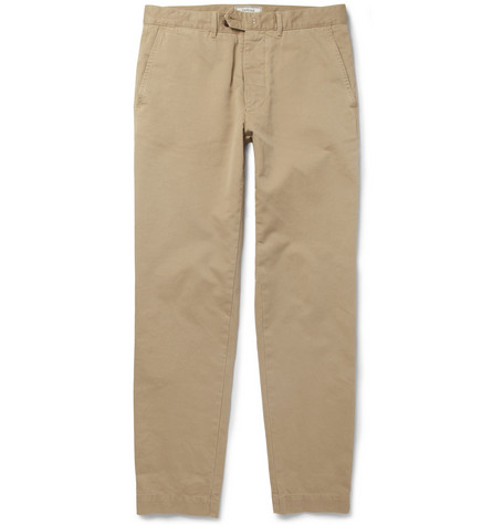 Officine Generale Slim-Fit Brushed-Cotton Trousers