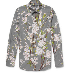 Dolce & Gabbana Gold-Fit Blossom-Print Cotton Shirt