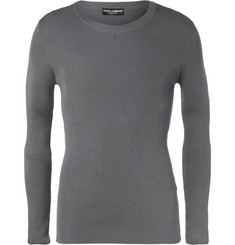 Dolce & Gabbana Ribbed Silk and Cotton-Blend Sweater